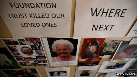 A memorial gallery of patients who died at Stafford General Hospital is affixed on the wall at the headquarters of campaign group Cure the NHS in 2009