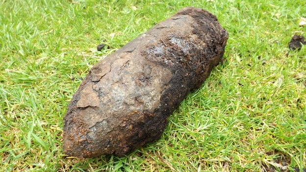 Bomb found by Carole Longhorn in Norfolk