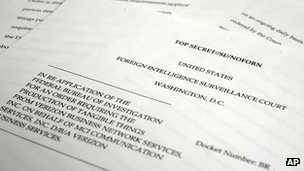 A copy of the U.S. Foreign Intelligence Surveillance Court order