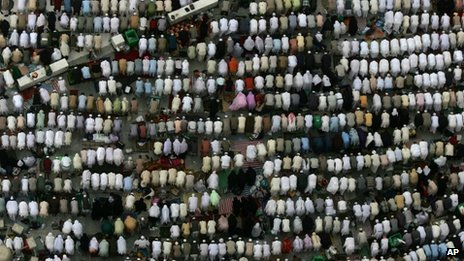 Pilgrims pray outside the Great Mosque in Mecca, Islam's holiest shrine, two days before Muslim's annual pilgrimage, known as the Hajj,