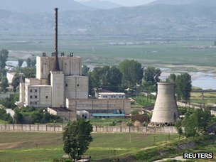 North Korean nuclear plant at Yongbyon seen before the demolition of its cooling tower in 2008