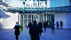 Generic shot of BBC staff and building