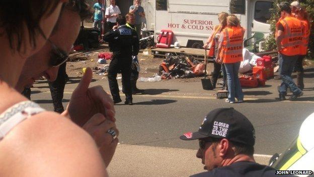 Crash scene at the Isle of Man TT on Friday