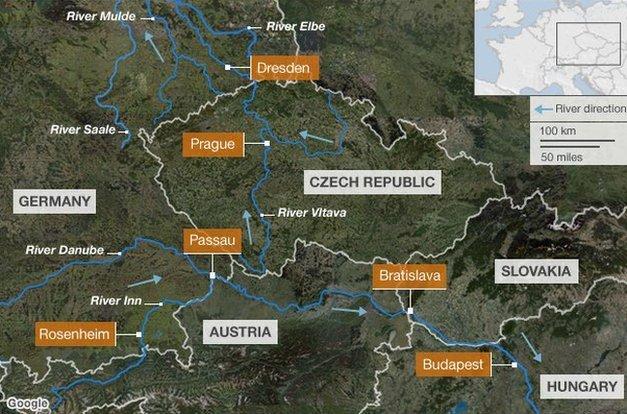 Map of Eastern European rivers