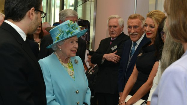 The Queen speaks to celebrities including Sir Bruce Forsyth on her tour of BBC New Broadcasting House