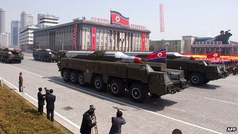 Musudan-class missiles during a military parade in Pyongyang on 4 April 2013