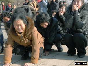 North Koreans mourning Kim Jong-il on 19 December 2011