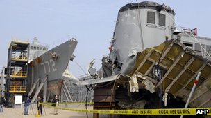 Wreckage of South Korean warship Cheonan, pictured on 20 May 2010