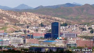The joint industrial estate of North Korea's border city of Kaesong is seen from an observation post on 26 May 2010 in Panmunjom, South Korea.