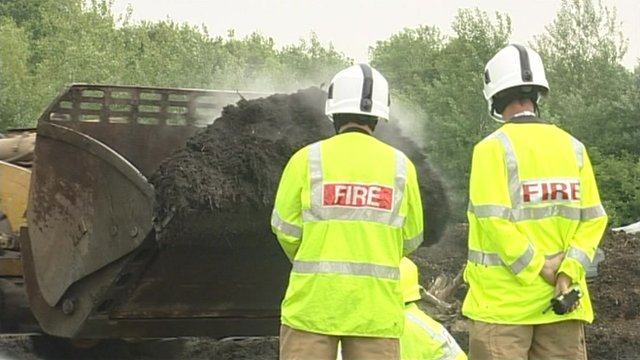 Firefighters at the compost fire in Beenham