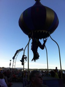 Trapeze artists have been entertaining the crowds at the pageant