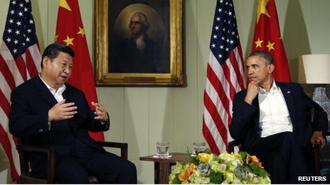 Chinese President Xi Jinping and US President Barack Obama at Sunnylands, California (7 June)