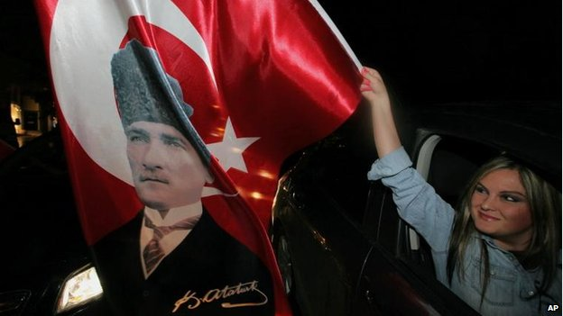 Protester in Ankara with Kemal Ataturk flag (8 June)