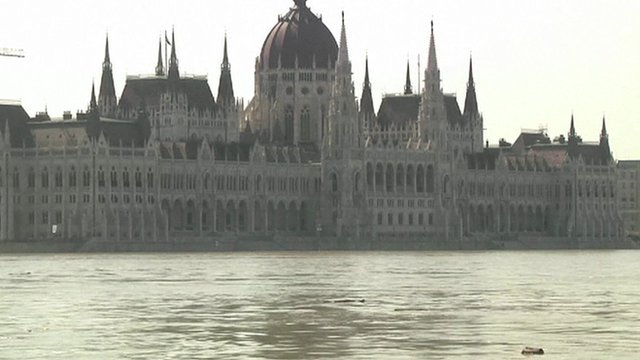 Flood waters near Hungarian parliament