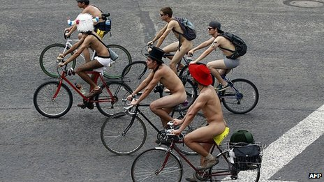 Naked bike ride in Mexico City