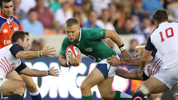 Ian Madigan (centre) scored all Ireland's points in Houston
