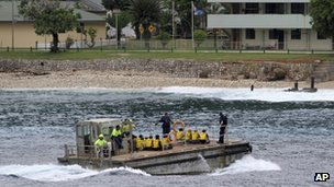 Vietnamese asylum seekers arriving at Christmas Island (file pic April 2013)