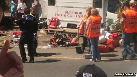 Crash scene at the Isle of Man TT on Friday