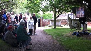 Worshippers outside Aldeburgh parish church