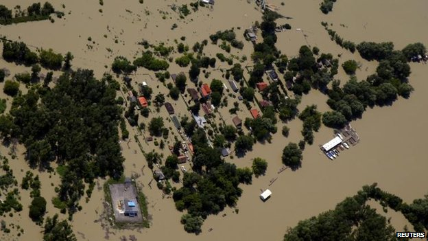 Aerial view of Dunabogdany, Hungary (9 June)