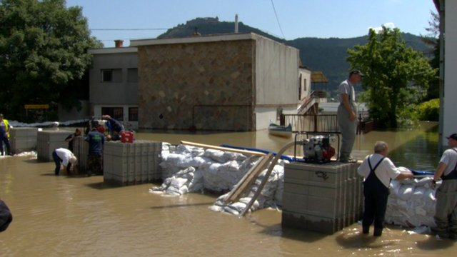 Sandbags and flood water