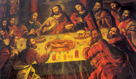 Depiction of the Last Supper, complete with guinea pig, in Cusco Cathedral, Peru