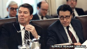 US President Ronald Reagan and Secretary of Defense Caspar Weinberger at a 1984 cabinet meeting
