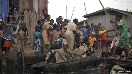 Makeshift school in Lagos, 2013