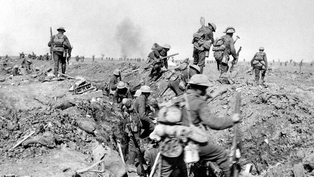 Allied troops leave a trench prior to the battle of Morval, WWI, 1916.
