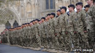 Troops recently returned from service in Afghanistan parading in York