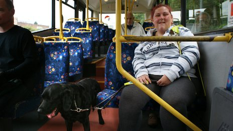 Gemma Booth uses the bus with her guide dog