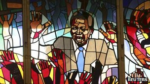 A mural of Nelson Mandela at Regina Mundi church in Soweto