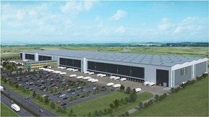 Artist's impression of the distribution centre, London Gateway Logistics Park