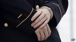 Bradley Manning's cuffed hands
