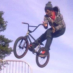 Mitchell Francis on his BMX bike