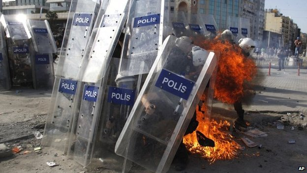 Petrol bomb hits police lines, Taksim Square 11/6/13