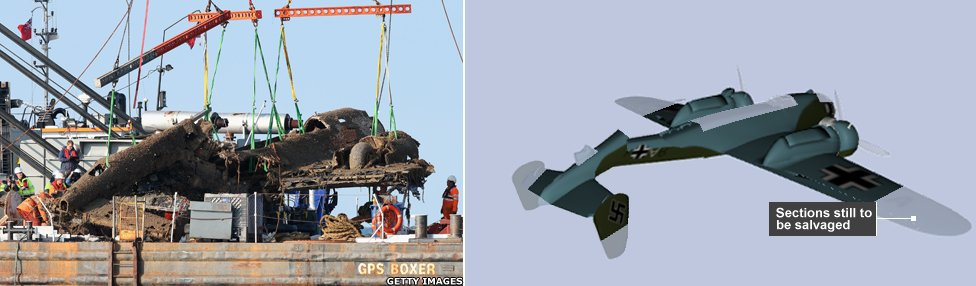 Image showing the raised wreck of the Dornier bomber against the 3D image.