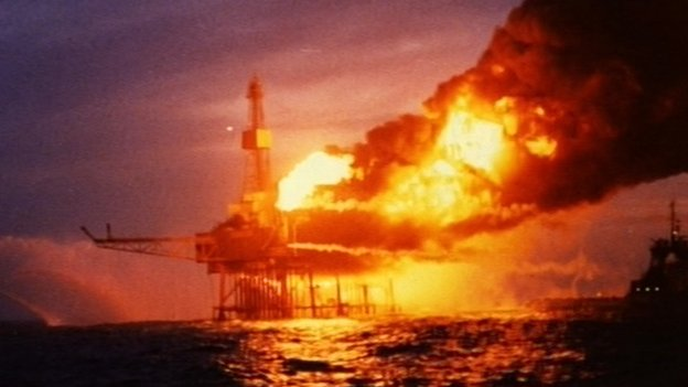 Piper Alpha fire in the night