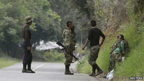 Farc rebels in Caldono, Cauca province, on 4 June 2013