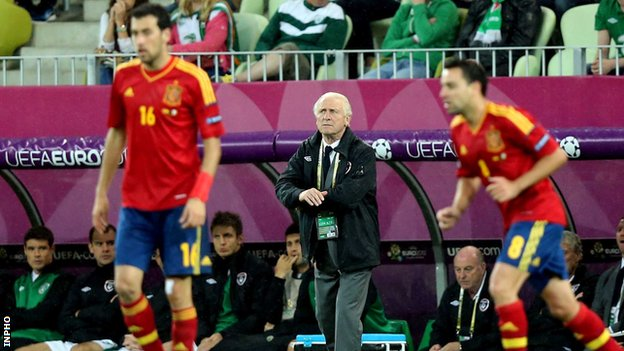 Giovanni Trapattoni watches his team during last year's Euro 2012 hammering by Spain