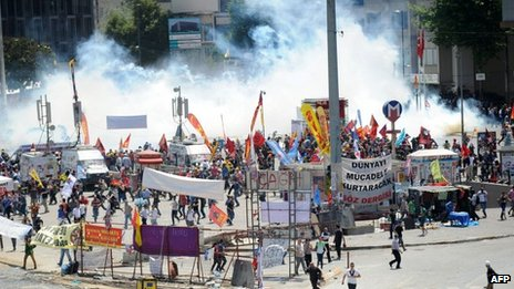 Taksim square is pictured during clashes between demonstrators and riot police