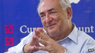 Dominique Strauss-Kahn during a visit in Juba, South Sudan (May 2013)