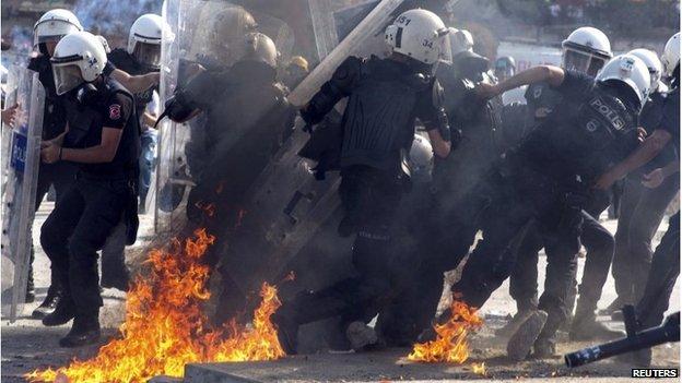 Police in Taksim Square, Istanbul, 11 June 2013