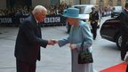 BBC Trust chairman Lord Patten greeting the Queen at NBH