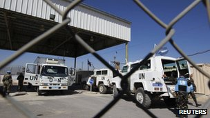 UN vehicles at the Quneitra border crossing between Israel and Syria