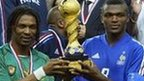Cameroon's Rigobert Song and France's Marcel Desailly