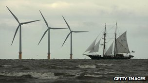 Offshore windfarm with sailing ship