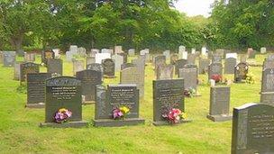 Headstones in Market Weighton cemetery