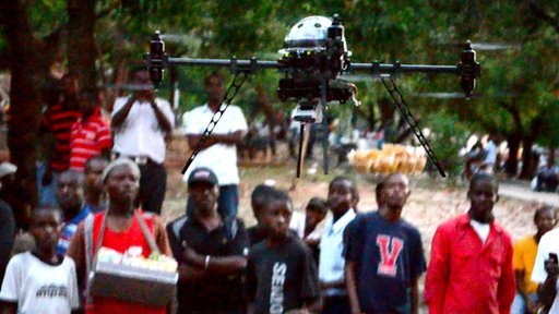 The drone in a camp in Haiti, copyright Matternet