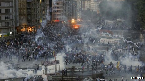 Police fire tear gas in Taksim Square, Istanbul, 11 June 2013